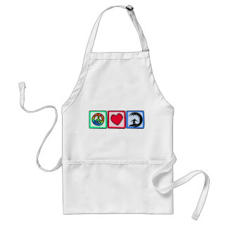 Peace, Love, Surfing Adult Apron