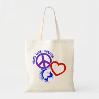 PEACE-LOVE-SURFING BUDGET TOTE BAG