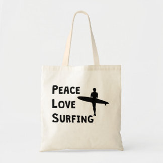 Peace Love Surfing Budget Tote Bag