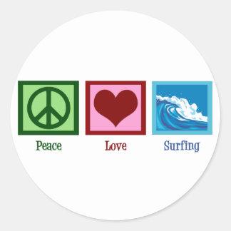 Peace Love Surfing Classic Round Sticker