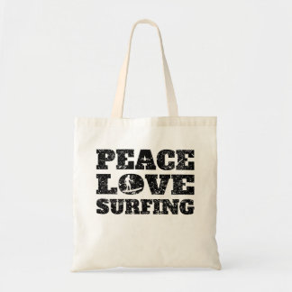 Peace Love Surfing (Distressed) Budget Tote Bag