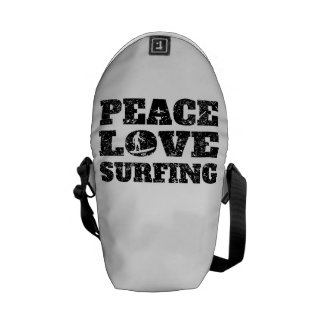 Peace Love Surfing (Distressed) Courier Bags