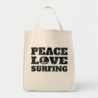 Peace Love Surfing (Distressed) Grocery Tote Bag
