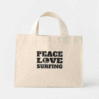 Peace Love Surfing (Distressed) Mini Tote Bag