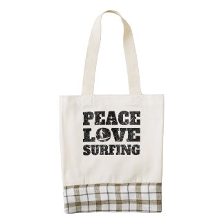 Peace Love Surfing (Distressed) Zazzle HEART Tote Bag
