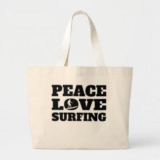 Peace Love Surfing Jumbo Tote Bag