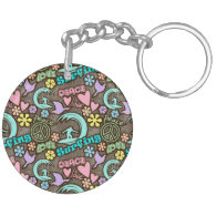 Peace, Love, Surfing Keychains