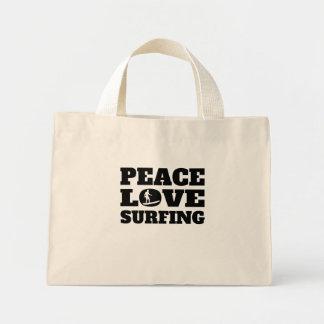 Peace Love Surfing Mini Tote Bag