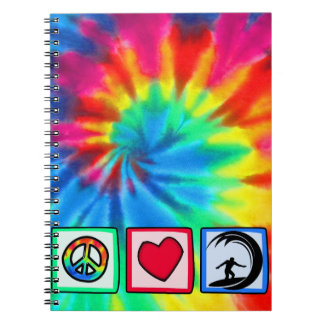 Peace, Love, Surfing Spiral Note Books