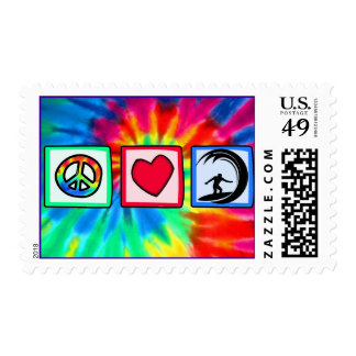 Peace, Love, Surfing Postage Stamp