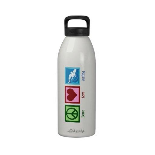 Peace Love Surfing Water Bottles