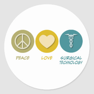 Peace Love Surgical Technology Classic Round Sticker