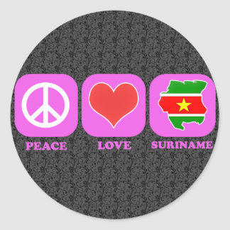 Peace Love Suriname Round Sticker