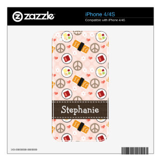 Peace Love Sushi iPhone 4 / 4s Skin Decal For The iPhone 4S