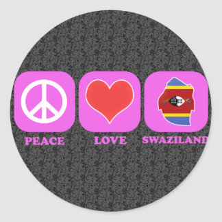 Peace Love Swaziland Round Stickers