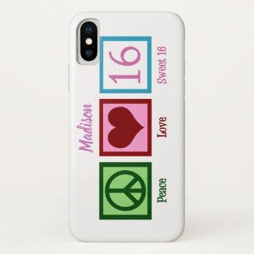Peace Love Sweet 16 Cute Custom iPhone XS Case