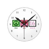 Peace Love Sweet 16 Round Clock