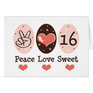 Peace Love Sweet Sixteen Birthday Card