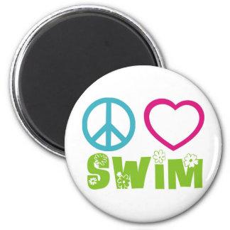 Peace Love Swim 2 Inch Round Magnet