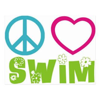 Peace Love Swim Postcard