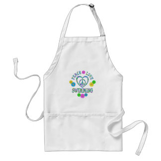 Peace Love Swimming Adult Apron