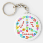 Peace Love Swimming Basic Round Button Keychain
