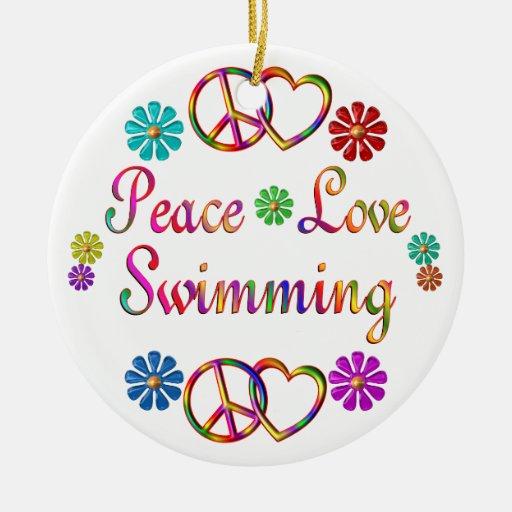 PEACE LOVE SWIMMING CERAMIC ORNAMENT