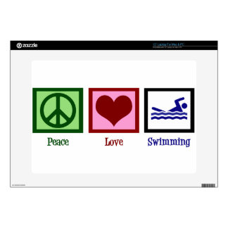 """Peace Love Swimming Decal For 15"""" Laptop"""