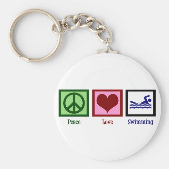 Peace Love Swimming Keychain