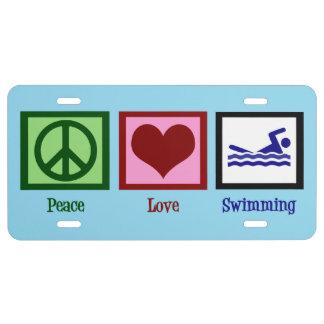 Peace Love Swimming License Plate