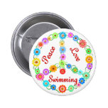 Peace Love Swimming Pinback Buttons