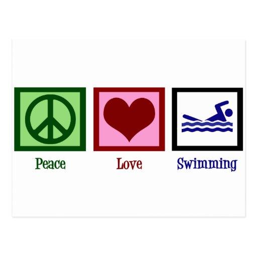 Peace Love Swimming Postcard