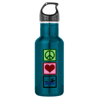 Peace Love Swimming Stainless Steel Water Bottle