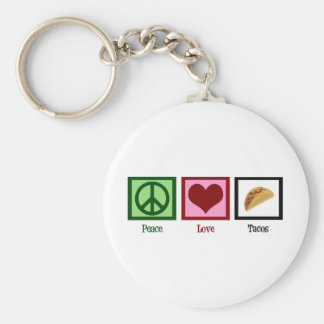Peace Love Tacos Basic Round Button Keychain