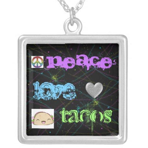 peace, love & tacos~ square pendant necklace