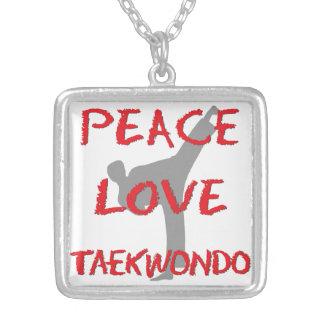 Peace Love Taekwondo Silver Plated Necklace