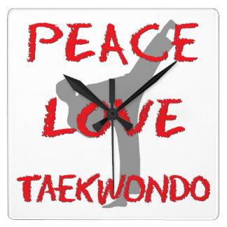 Peace Love Taekwondo Square Wall Clock