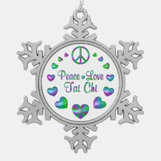 Peace Love Tai Chi Snowflake Pewter Christmas Ornament