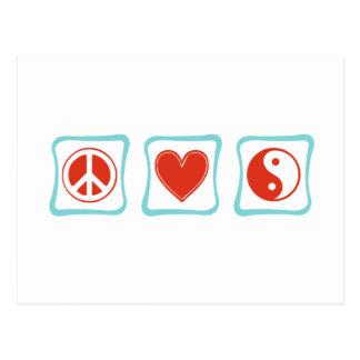 Peace Love Taoism Squares Postcard