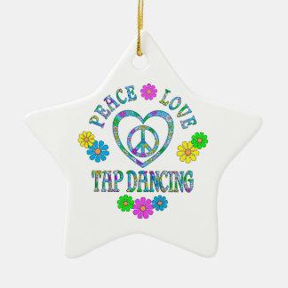 Peace Love Tap Dancing Ceramic Ornament