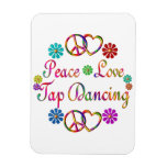 PEACE LOVE TAP DANCING RECTANGLE MAGNETS