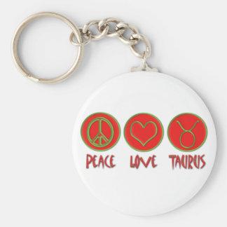 Peace Love Taurus Keychain