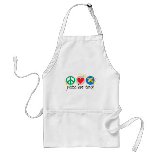 Peace Love Teach Adult Apron