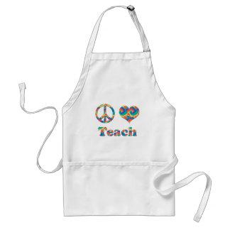 Peace Love Teach Adult Apron