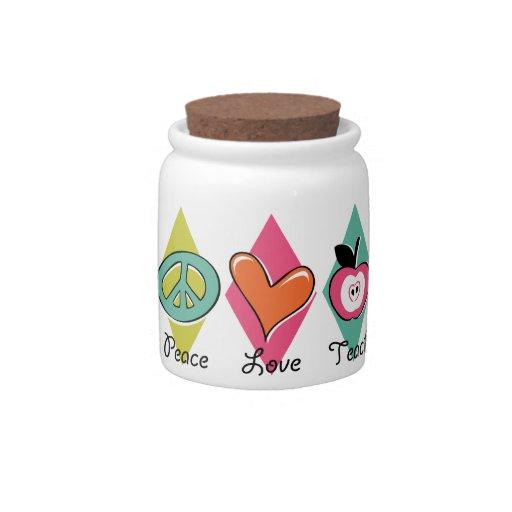 Peace Love Teach Candy Jars