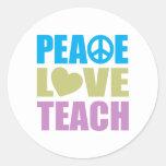 Peace Love Teach Classic Round Sticker