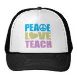 Peace Love Teach Hats