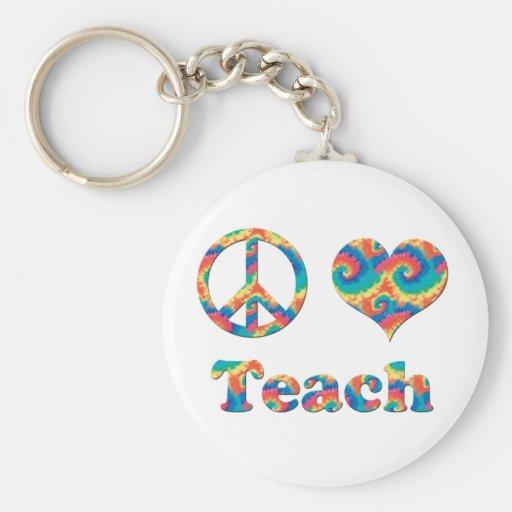 Peace Love Teach Keychain