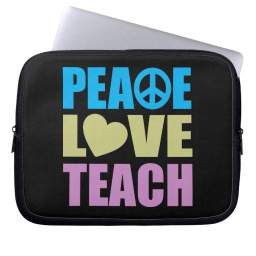 Peace Love Teach Laptop Computer Sleeves