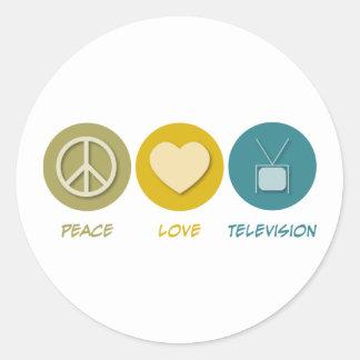 Peace Love Television Round Sticker